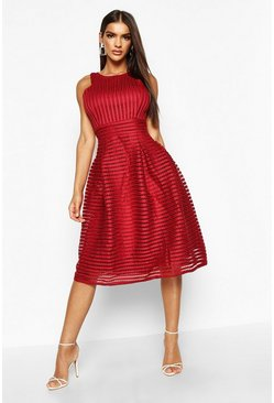 Womens Berry Boutique  Panelled Full Skirt Skater Dress