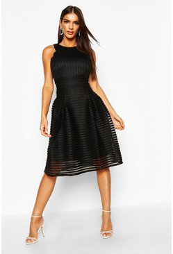 Black Boutique  Panelled Full Skirt Skater Dress