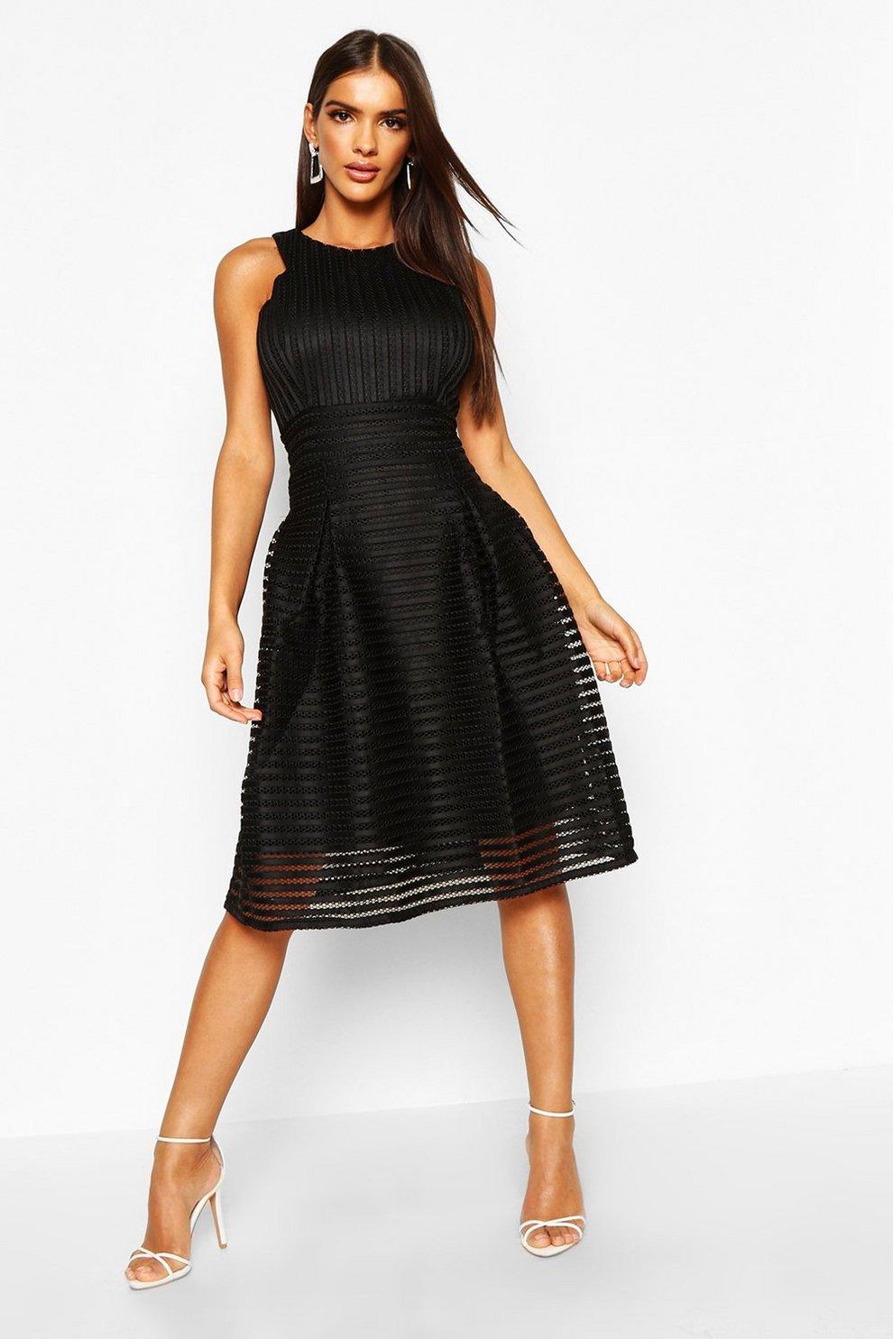 72b03c6f9c Boutique Panelled Full Skirt Skater Dress | Boohoo
