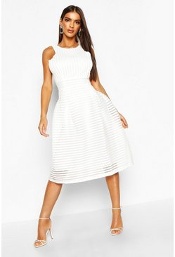 Womens Ivory Boutique  Panelled Full Skirt Skater Dress