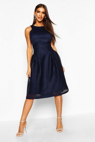 Navy Boutique  Panelled Full Skirt Skater Dress