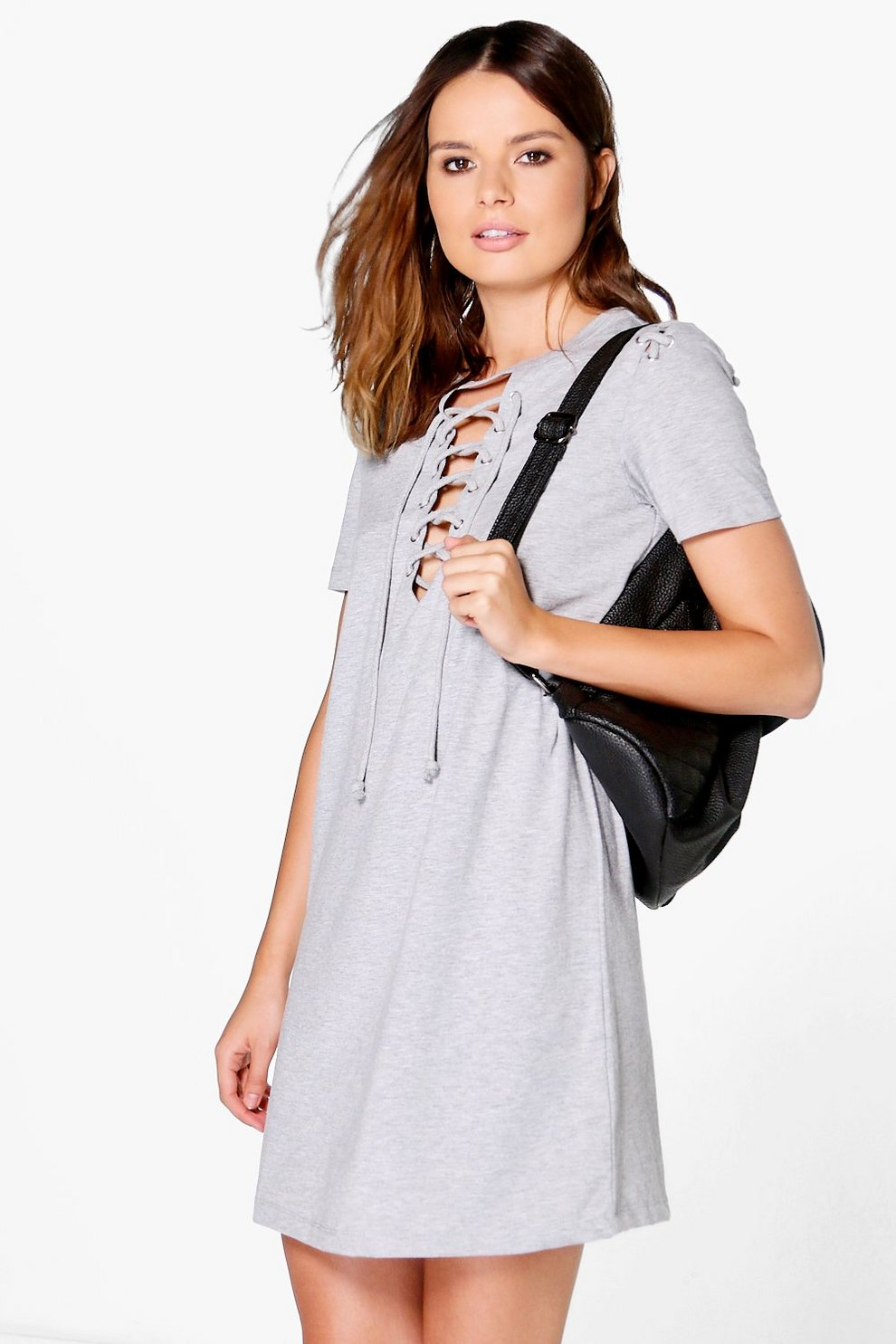 c05cb8227746 Sally Lace Up Front T-Shirt Dress | Boohoo