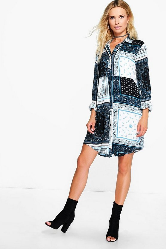 Bryony Scarf Printed Shirt Dress