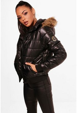Womens Black Maya Faux Fur Hood Bubble Coat