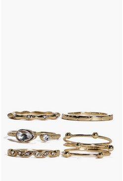 Womens Gold Grace Mixed Detail Ring Pack