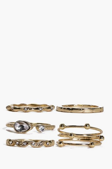 Gold Grace Mixed Detail Ring Pack