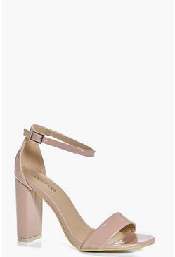 Womens Nude Block Heel Two Part Sandals