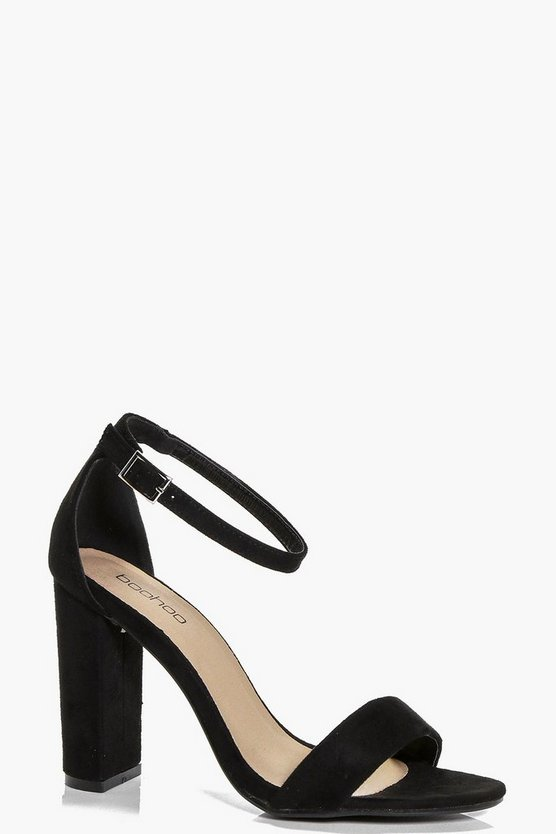 Black Block Heel Two Part Sandals