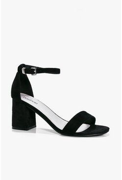 Womens Black Low Block Heel Two Parts