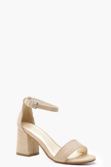 Womens Nude Low Block Heel Two Parts