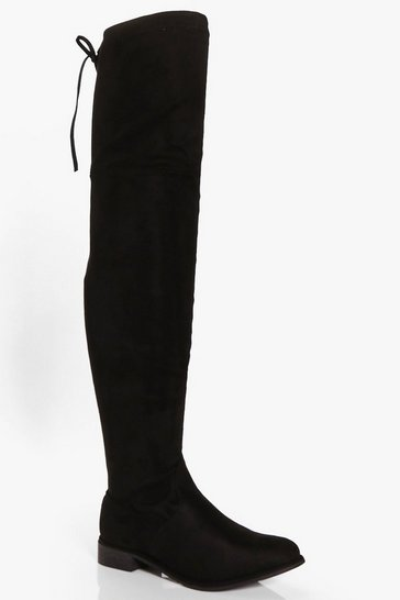 Womens Black Flat Thigh High Boots