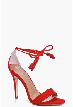 Womens Red Mira Two Part Wrap Strap Stiletto