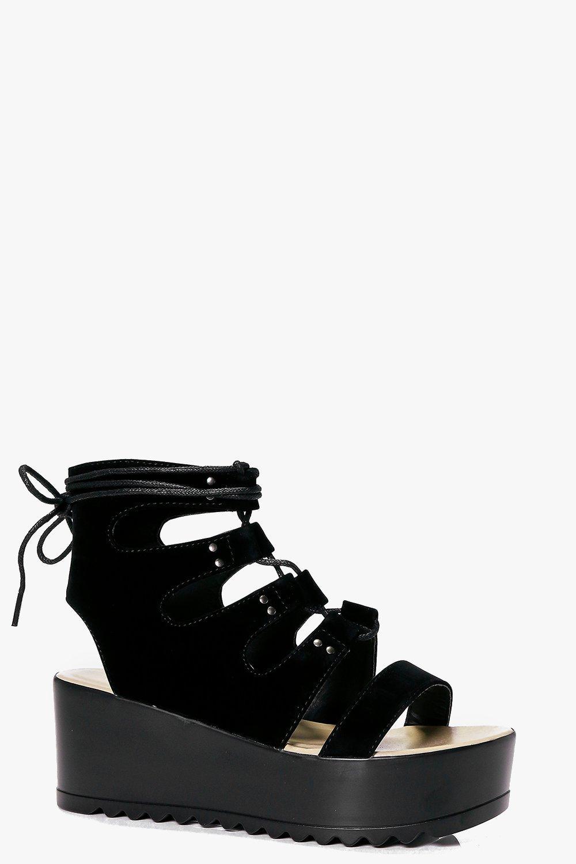 timeless design d26e9 0d71a Zeppe piatte Carla Ghillie allacciate alla caviglia | Boohoo