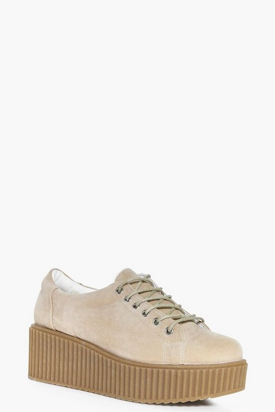 Womens Stone Robyn Lace Up Platform Trainer