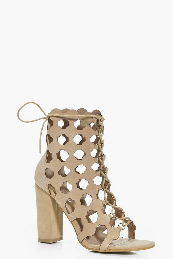 Womens Nude Freya Peeptoe Cut Work Shoe Boot