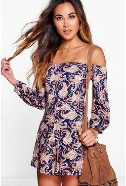 Womens Multi Off The Shoulder Paisley Print Playsuit