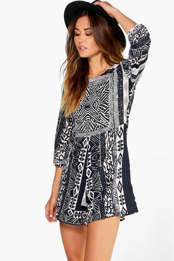 Suzie Sleeved Printed Playsuit