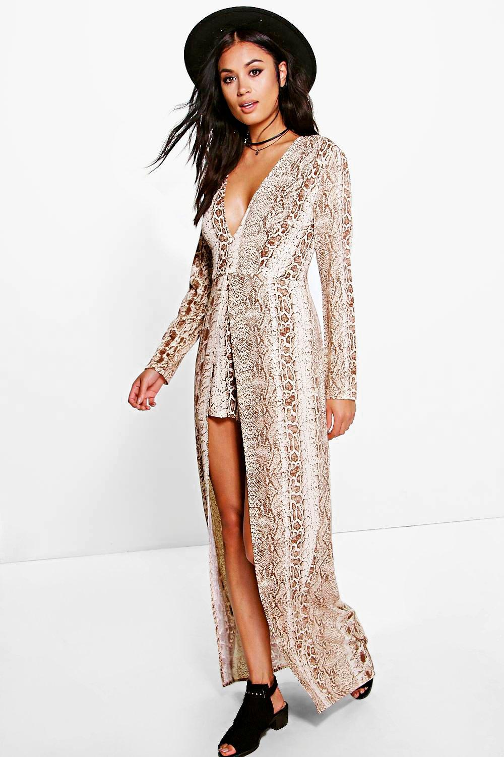 Sara Snake Print Maxi Overlay Playsuit. Hover to zoom