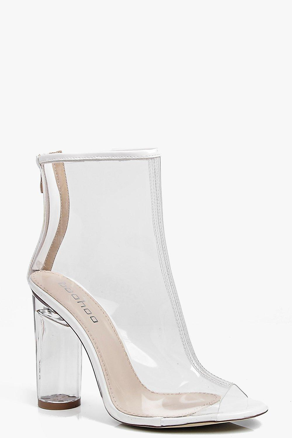 Peeptoe Clear Heel Shoe Boots. Hover to zoom