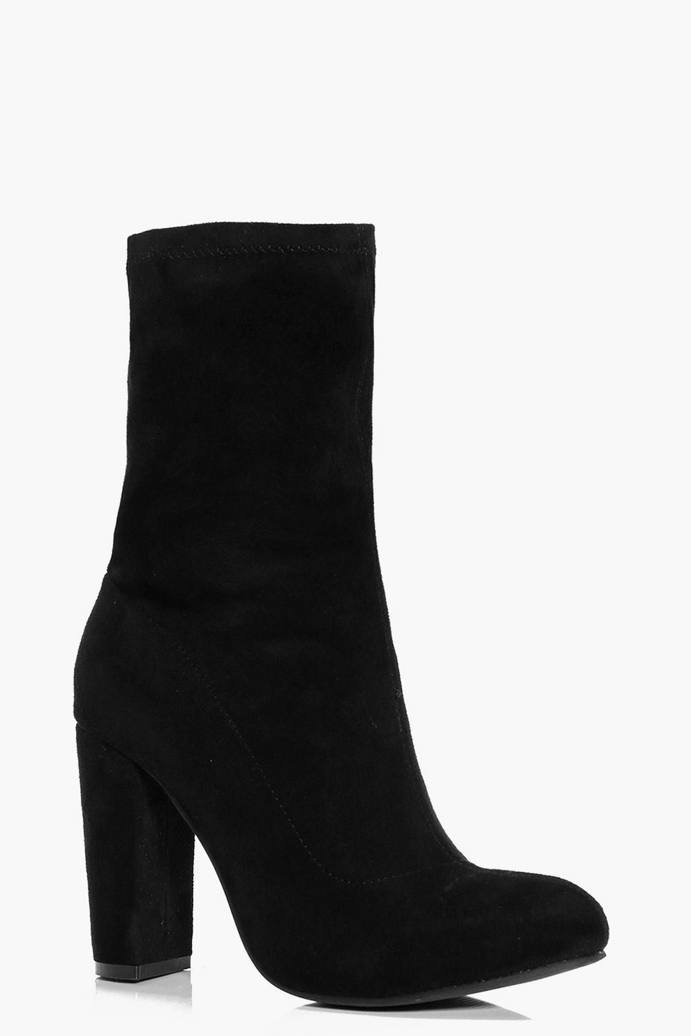 79185ff86403 Womens Black Annie Block Heel Sock Boot. Hover to zoom