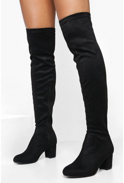 Black Block Heel Stretch Knee High Boots