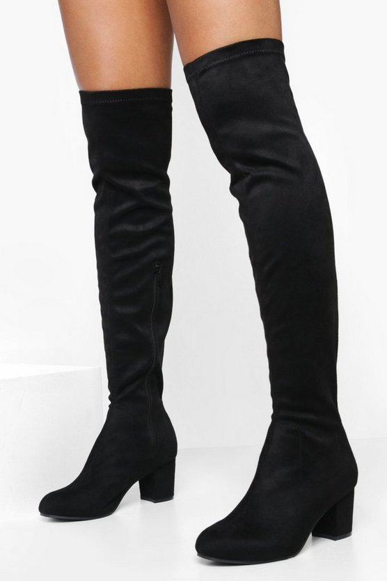 Block Heel Stretch Knee High Boots