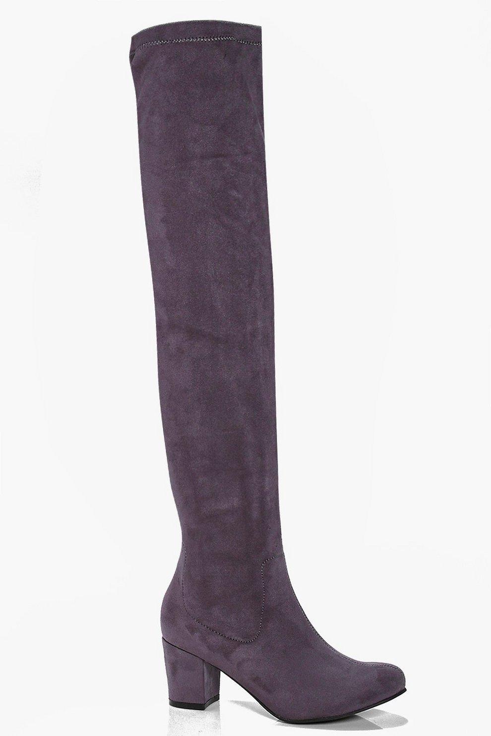 a3bd1db357 Block Heel Stretch Knee High Boots