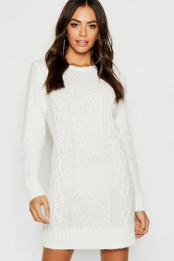 Cable Knit Soft Boucle Jumper Dress