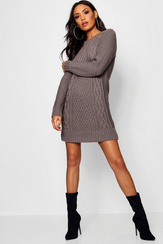 Womens Grey Cable Knit Soft Boucle Jumper Dress