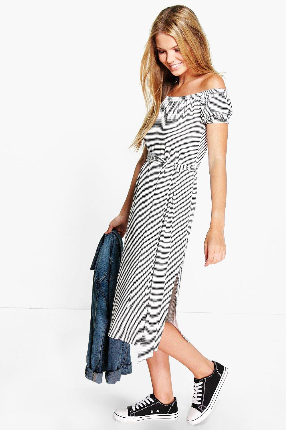 5389188826b5 Aimee Stripe Off The Shoulder Tie Midi Dress. Hover to zoom