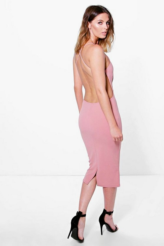 Womens Rose Pia Crepe Strappy Open Back Detail Midi Dress
