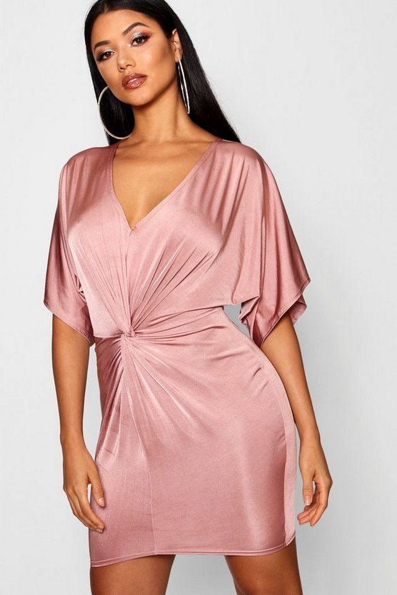 Kimono Sleeved Knotted Bodycon Dress