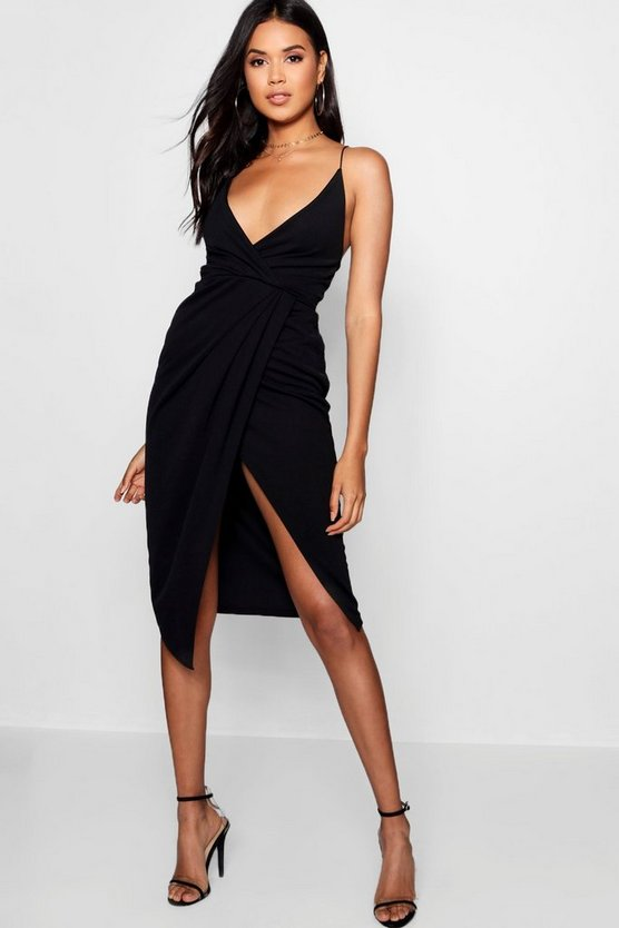 Womens Black Strappy Wrap Detail Midi Dress