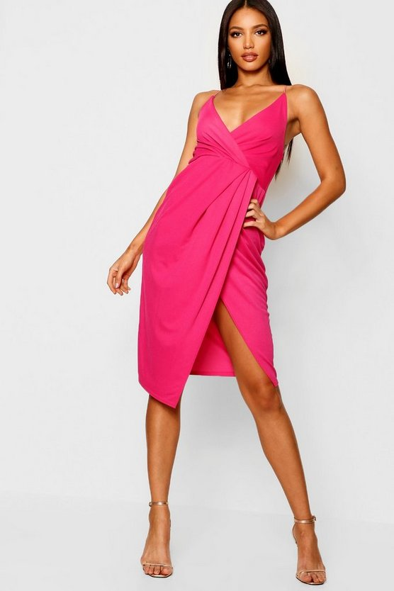 Womens Hot pink Strappy Wrap Detail Midi Dress