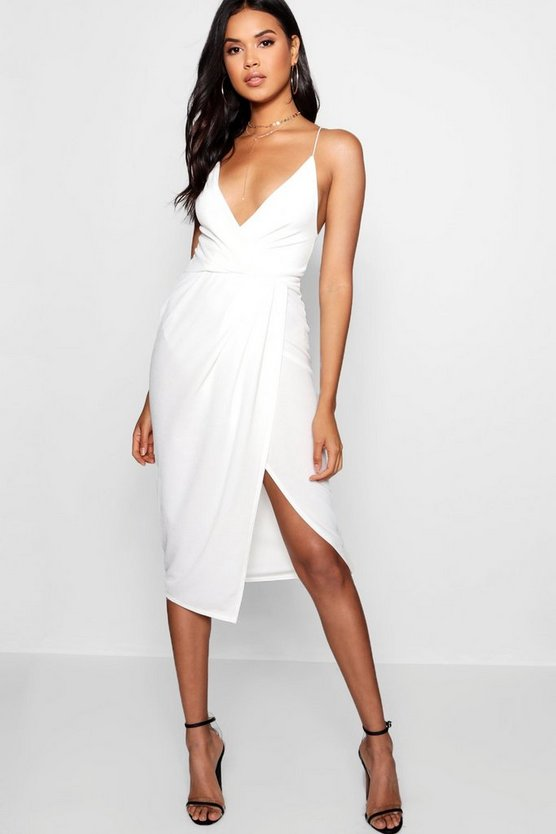 Womens Ivory Strappy Wrap Detail Midi Dress
