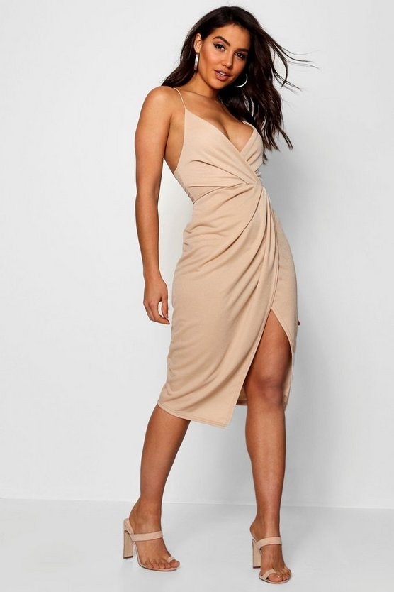 Strappy Wrap Detail Midi Dress