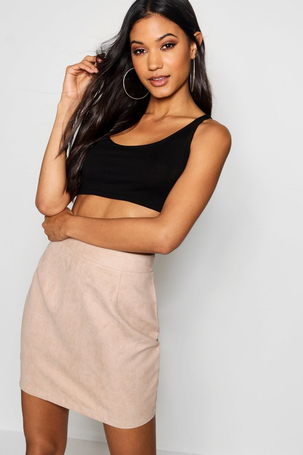 3ee8468c304c63 Woven Soft Suedette A Line Mini Skirt   Boohoo