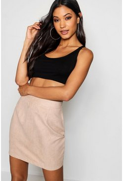 Womens Blush Woven Soft Suedette A Line Mini Skirt