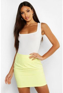 Lemon Woven Soft Suedette A Line Mini Skirt