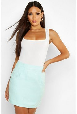 Womens Mint Woven Soft Suedette A Line Mini Skirt