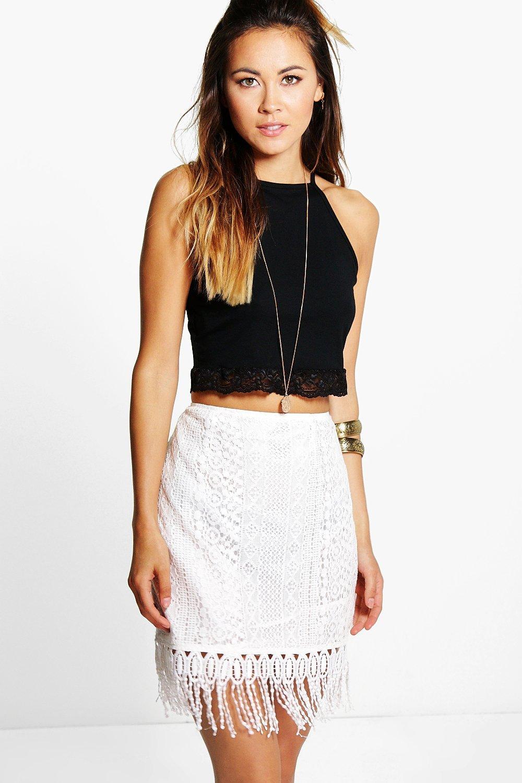 d546157e14 Minerva Crochet Lace Tassle Trim Mini Skirt   Boohoo