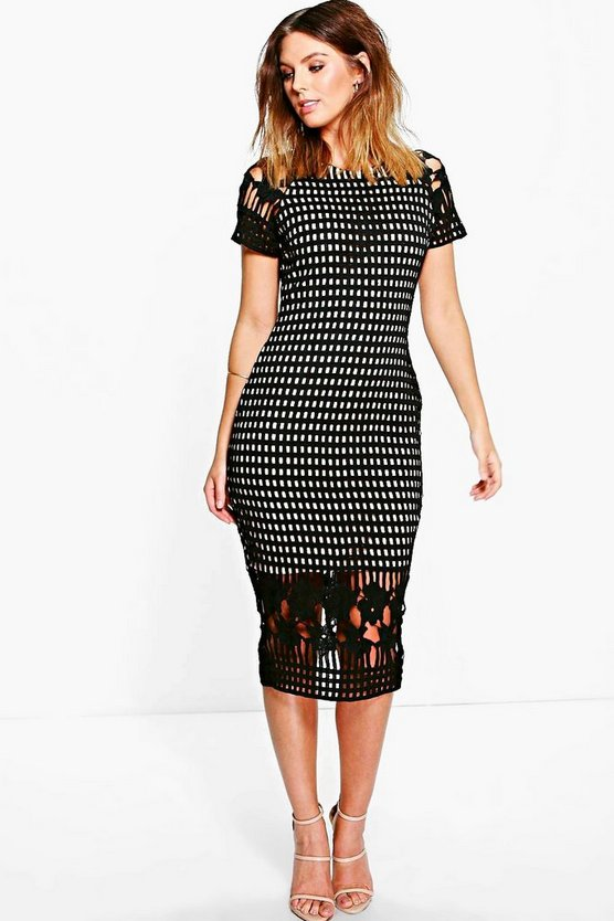 Womens Black Amy All Over Crochet Border Detail Midi Dress