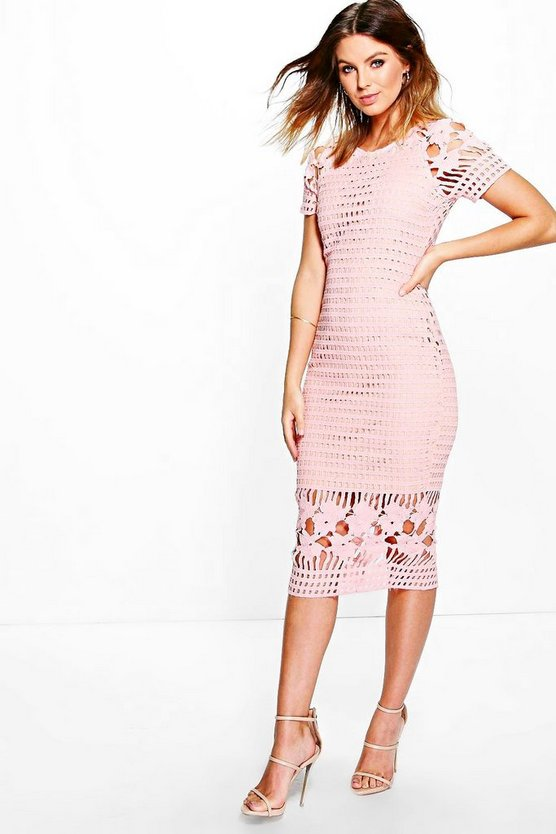 Amy All Over Crochet Border Detail Midi Dress