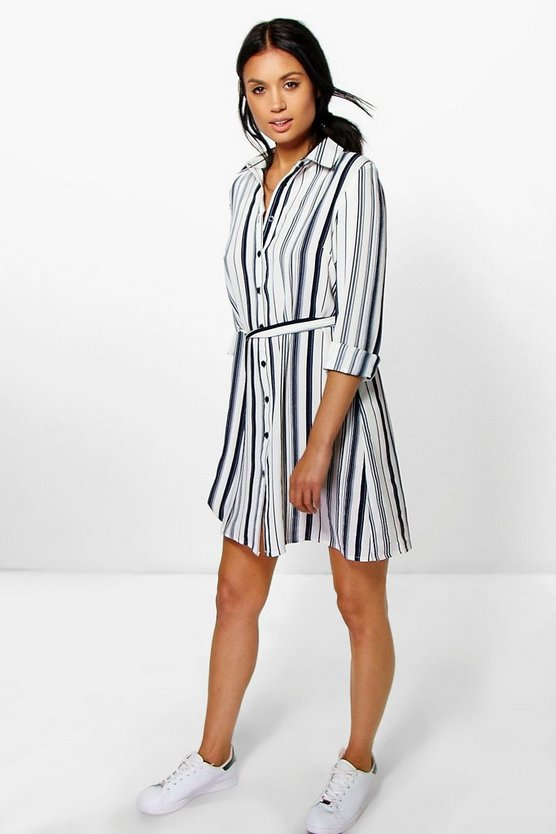 Ally Tie Waist Stripe Shirt Dress
