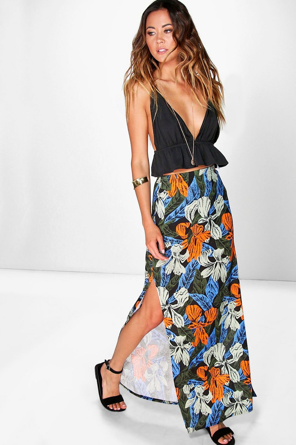 a129790ae83 Womens Multi Luna Leaf Print Double Split Maxi Skirt