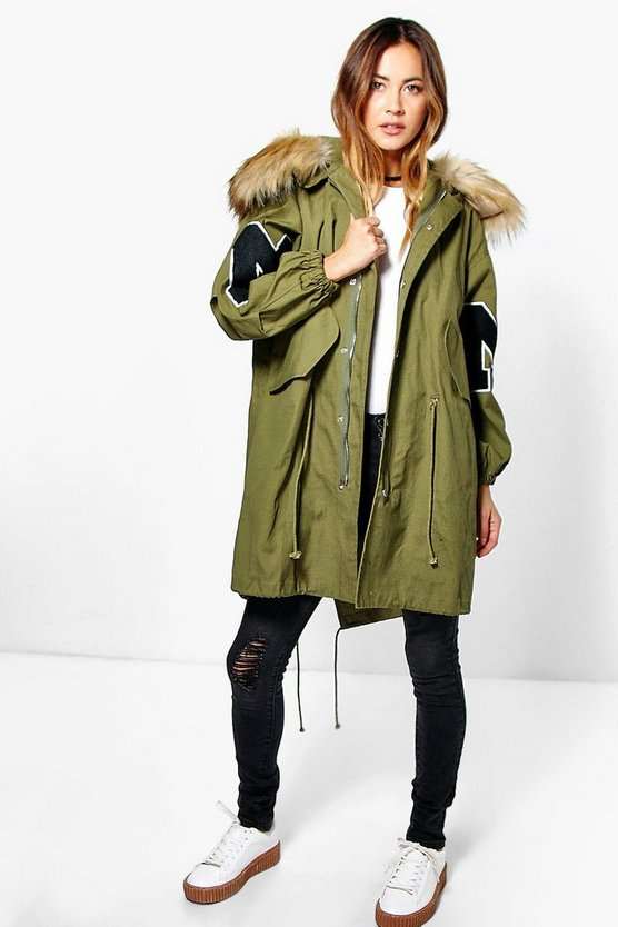 Womens Khaki Megan Faux Fur Hood Oversized Parka