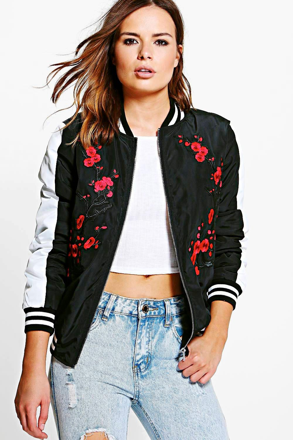 abc75ee02 Sophie Embroidered Bomber Jacket | Boohoo