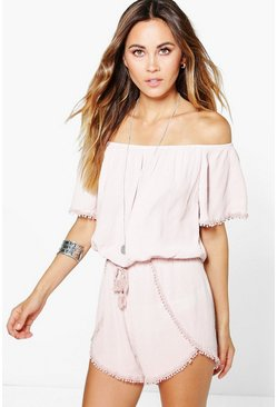 Womens Nude Crochet Trim Off The Shoulder Romper