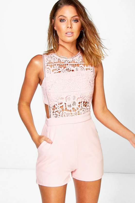Womens Blush Boutique  Crochet Barely There Playsuit