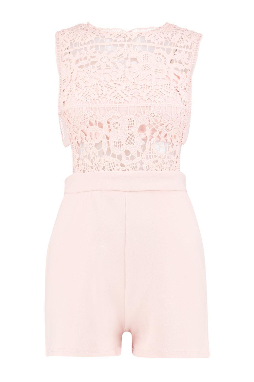 Rosa corto boutique de crochet rubor transparencias Mono con xYzdwnqXdg